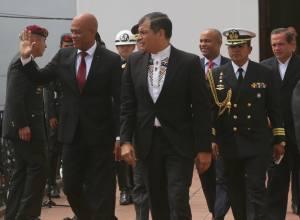 Le Président Martelly et le Président équatorien, M. Rafel Correa