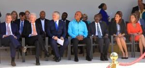 Le Chef de l'Etat entouré de son Premier Ministre, M Evans Paul et du PDG de la Dicgicel, M. Denis O'Brien