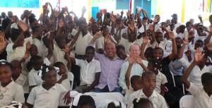 Avec les élèves de l'école Nationale de Bossan
